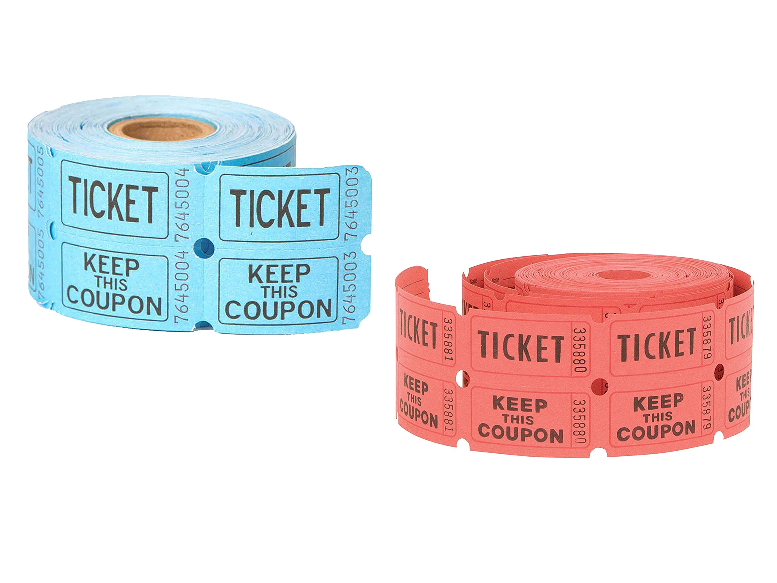 2 Roll of 500 Unique Industries Double Roll of Raffle Tickets (Color May Vary) Bundled by Maven Gifts
