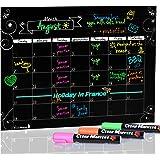 "Cedar Markers 16""x12"" Black Magnetic Fridge Calendar With 3 Free Chalk Markers. Dry Erase Blackboard Monthly Calendar."