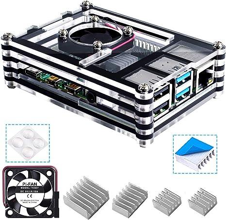 Bruphny Caja para Raspberry Pi 4, Caja con Ventilador + 3 × Disipador para Raspberry Pi 4 Modelo B (No Incluye la Placa Raspberry Pi): Amazon.es: Electrónica