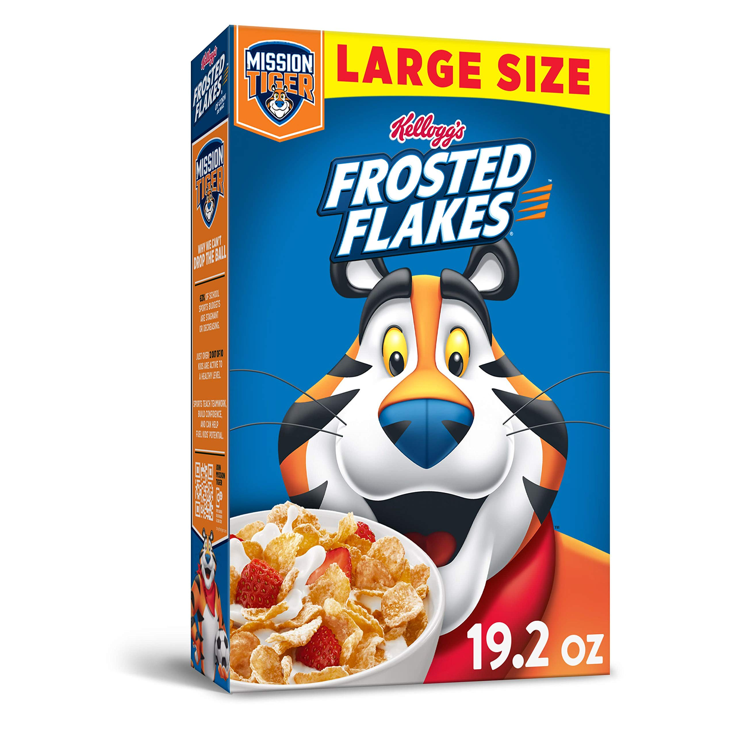 Kellogg's Frosted Flakes, Breakfast Cereal, Original, Excellent Source of 7 Vitamins and Minerals, Large Size, 19.2oz Box
