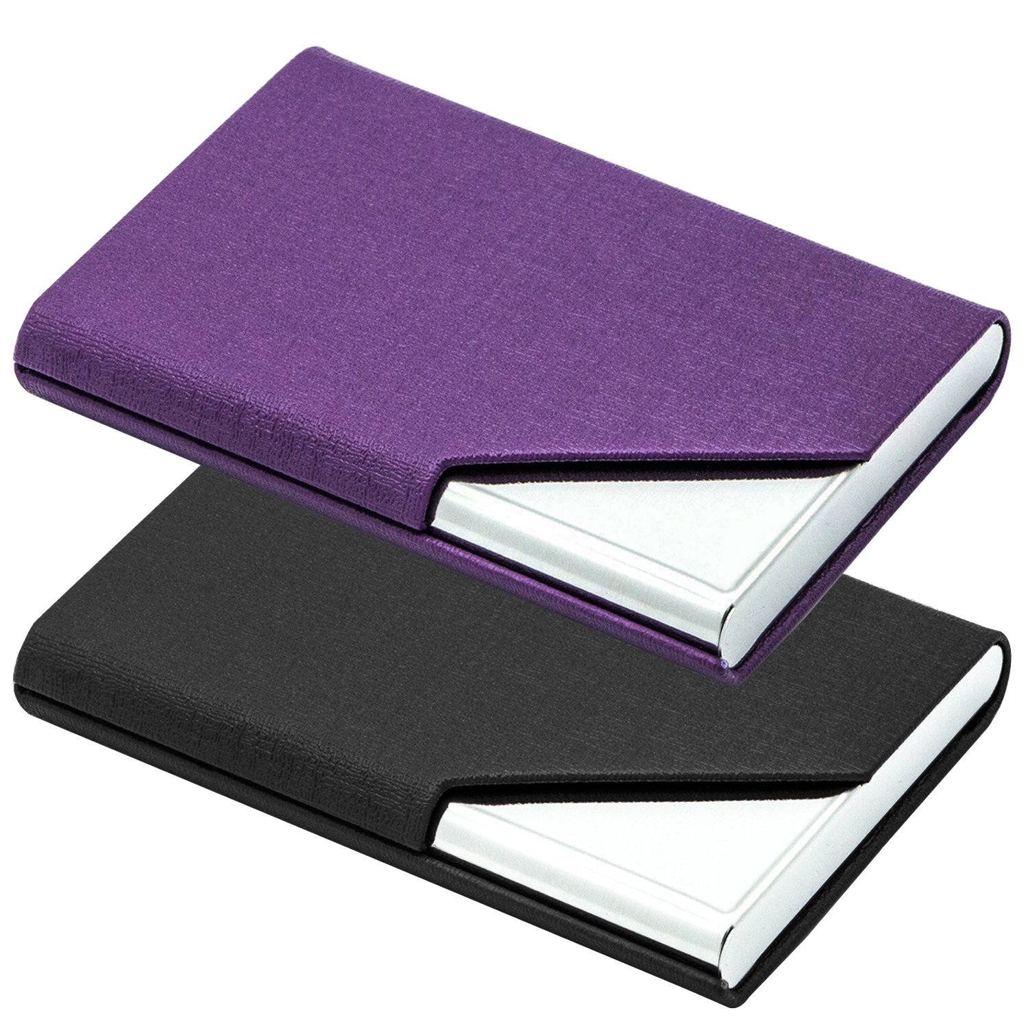 2 PCS Business Name Card Cases, Stainless Steel & PU Leather Card Holder, SENHAI Square Metal ID Wallets for Men & Women, with Magnet Shut - Black & Purple