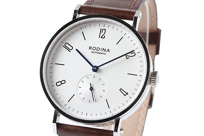Auténtico rodina R005 automático reloj de pulsera, estilo Bauhaus árabe plateado esfera blanca correa de