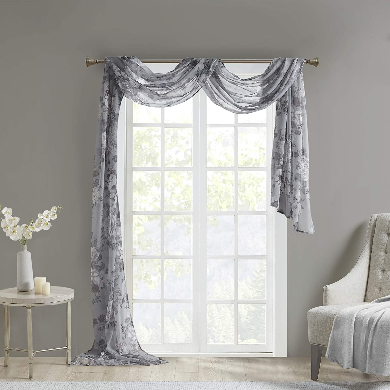 Madison Park Simone Floral Design Sheer Window Curtain Voile Privacy Drape for Bedroom, Livingroom, 42
