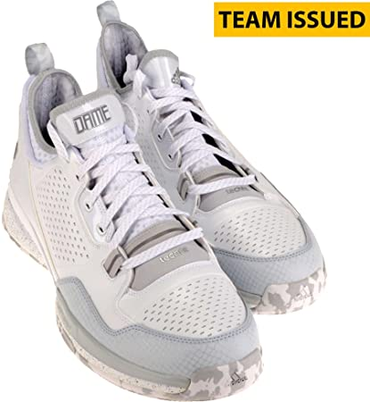 74d5000175e13 Kansas Jayhawks Team-Issued Adidas D Lillard White and Grey Shoes ...