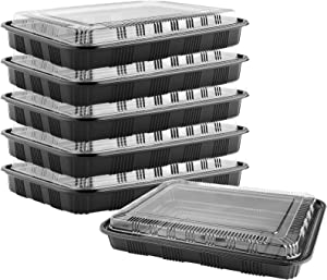 Aodaer Pack of 6 Plastic Buffet Platter Sandwich Trays Catering Trays with Lids for Serving Appetizers, Sandwich and Veggie Plates, 12.8 x 9.65 Inches