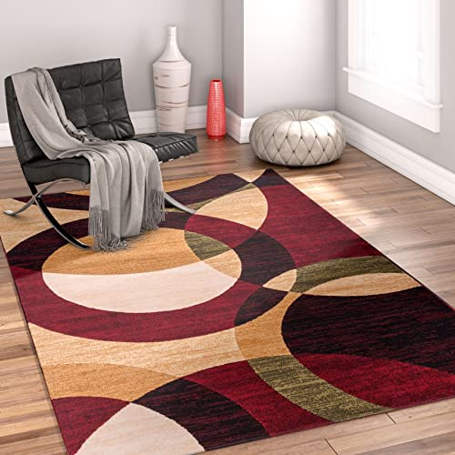 Well Woven Dulcet Bingo Red Modern Geometric Area Rug 5' X 7'2''