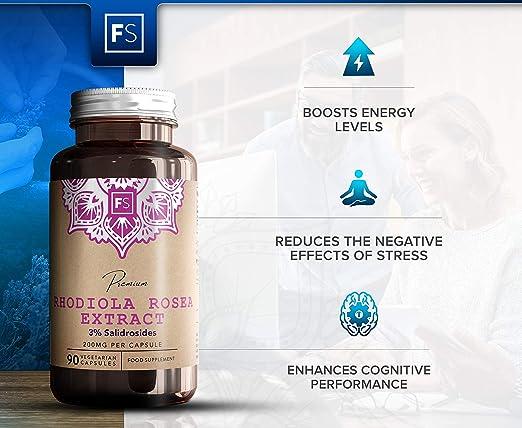 Rhodiola Rosea 200 mg de Focus Supplements | 3% de Salidrosida ...