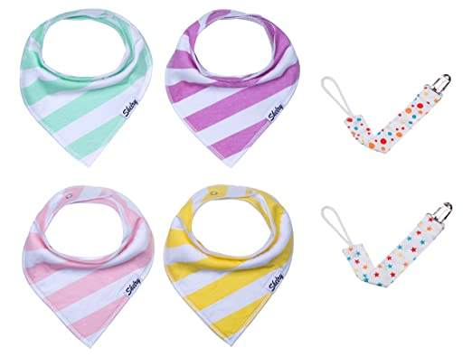 Shelry Cute Bandana Drool Bibs for Girls 4 Pack Baby Gift Set with Pacifier Clip