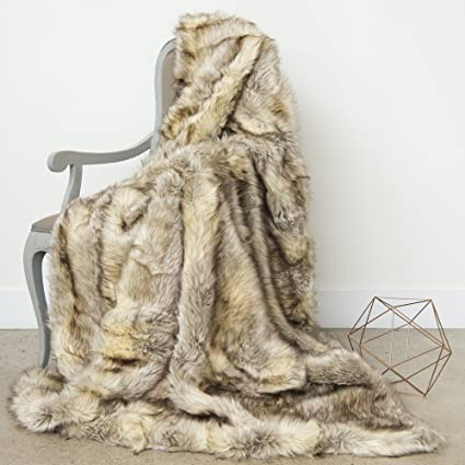 Amazon.com  Best Home Fashion Faux Fur Throw - Full Blanket - Kitt ... 55f594ba0