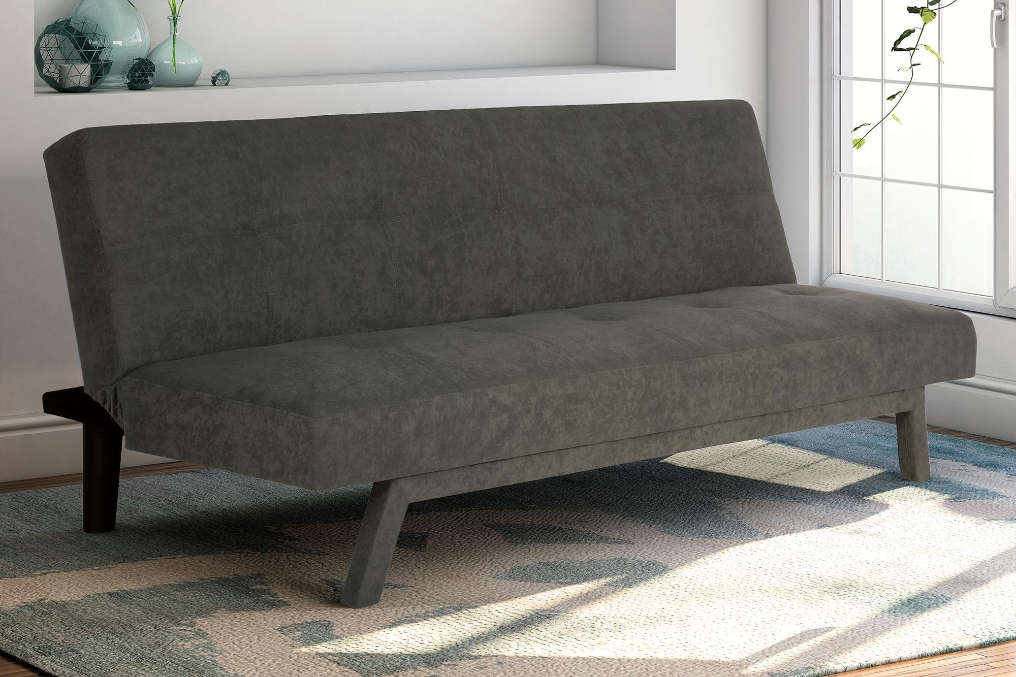 Futon Sofa Bed Lounge Couch Bed Upholstered Sturdy Convertible Sleeper Gray New Ebay