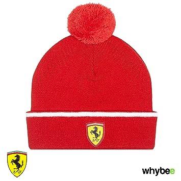 New! 2017 Ferrari Childrens Bobble Beanie Hat in Red Kids Junior ... 7ed5f2af616