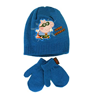 4c1cd6d84c1 Official Licensed Peppa Pig Hero George Winter Beanie Hat And Mittens Age 2-4  Years
