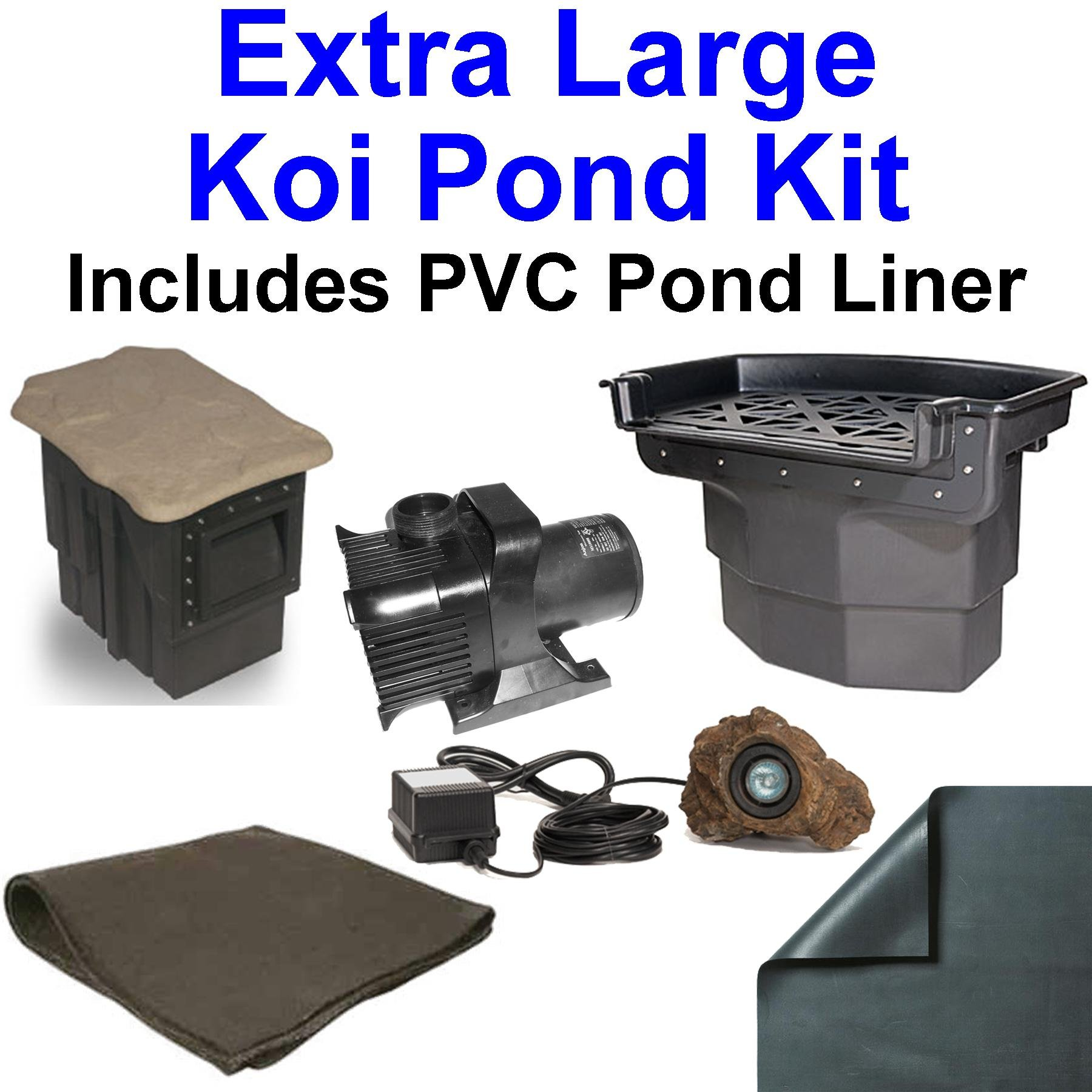 20' x 30' Extra Large PVC Pond Kit, Atlantic Water Gardens BF2600 Filtering Waterfall & PS1311 Skimmer, 5,200 GPH Pump - PVC2030