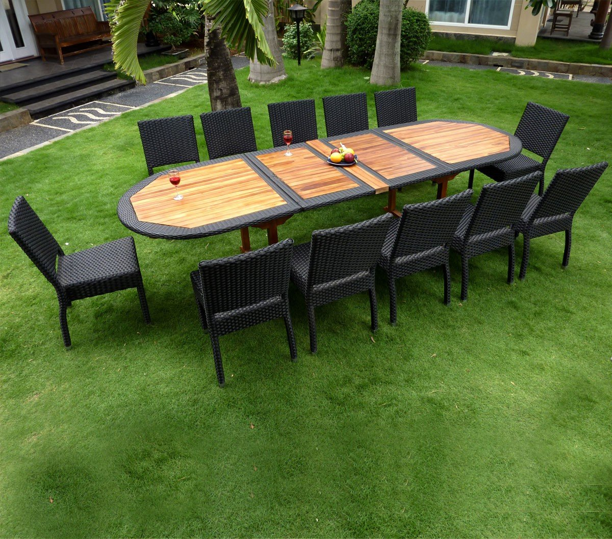 Teak Und Polyrattan Gartenmöbel Gartentisch Teakholz 300 Cm Online
