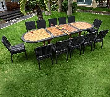 Salon de Jardin en Teck et résine Grande Taille 12 chaises: Amazon ...