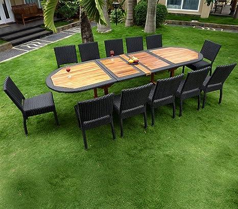 Salon de Jardin en Teck et résine Grande Taille 12 chaises ...
