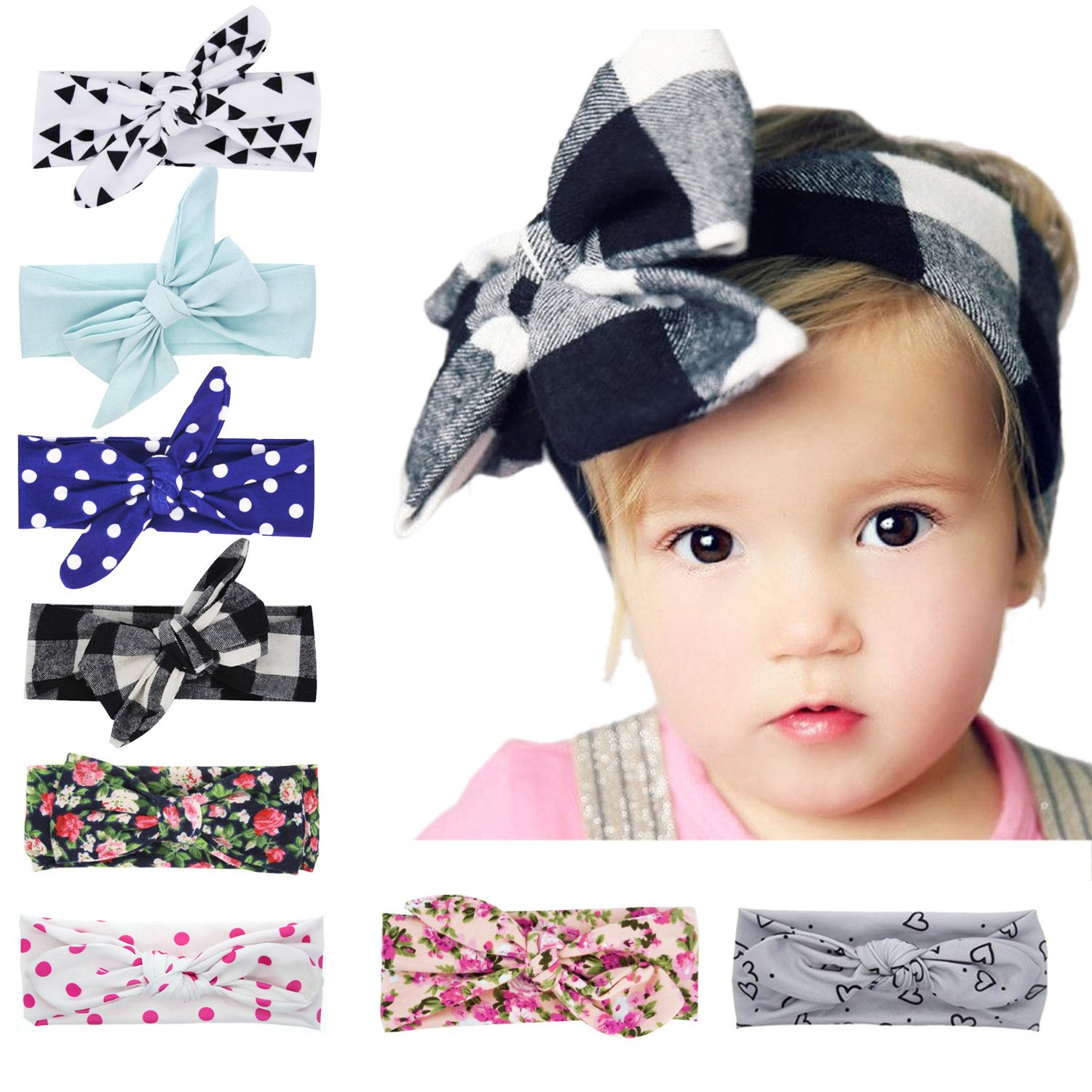 Fascigirl Baby Girl Headband, 12 Pcs Baby Knotted Headwrap Hairband for Infant Toddlers (D Multicolor)