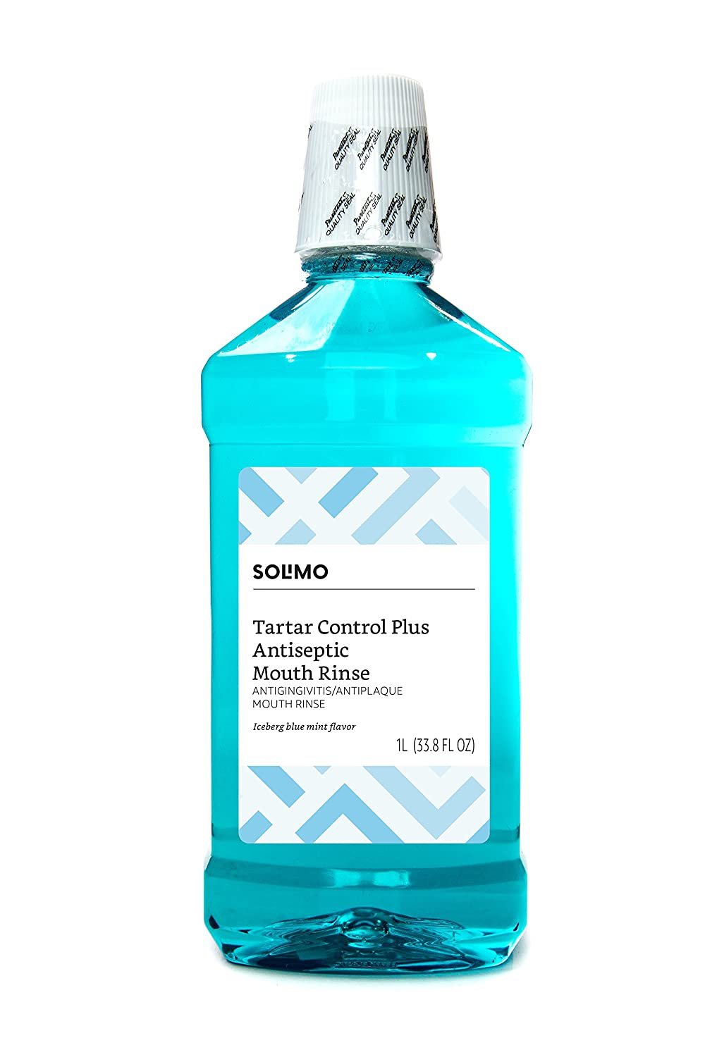 Amazon Brand - Solimo Tartar Control Plus Antiseptic Mouth Rinse, Iceberg Blue Mint, 33.8 Fl Oz (Pack of 1)