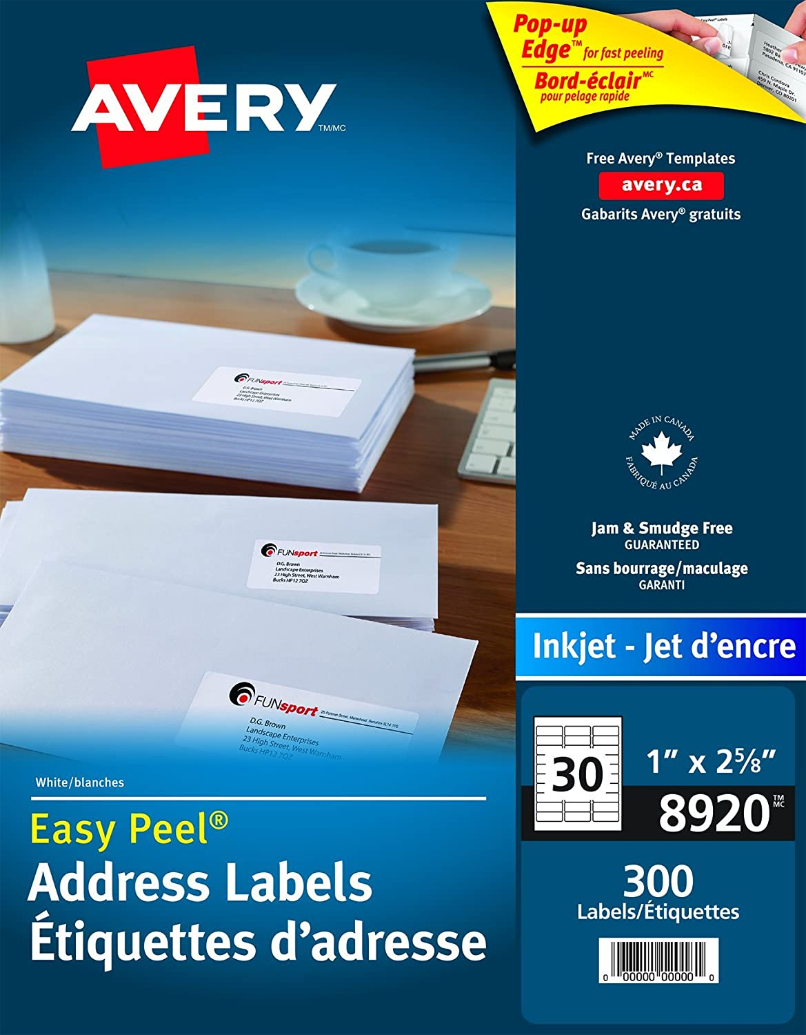 Avery Address Labels with Easy Peel for Inkjet Printers, 1 x 2-5/8, White, Rectangle, 750 Labels, Permanent (8160) Made in Canada 1 x 2-5/8 67933081605