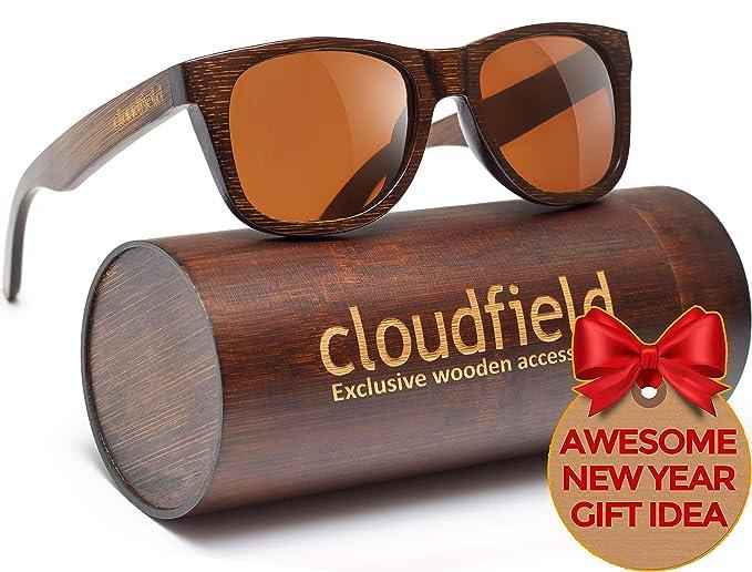 3b075609d7 cloudfield madera polarizada Gafas de sol Wayfarer estilo - 100% protección  UV, bambú marco