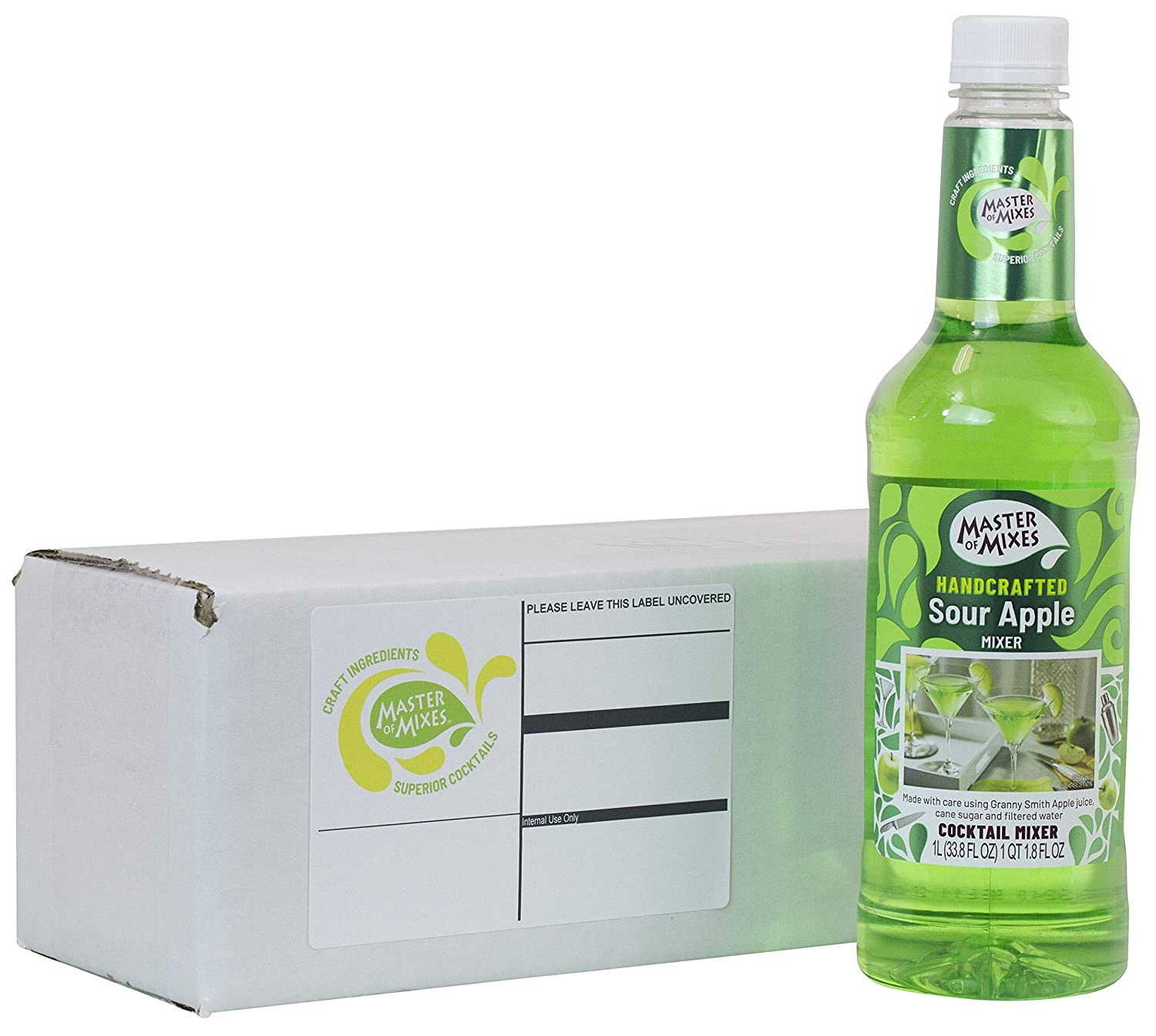 Master of Mixes Sour Apple Martini Drink Mix, Ready To Use, 1 Liter Bottle (33.8 Fl Oz), Individually Boxed