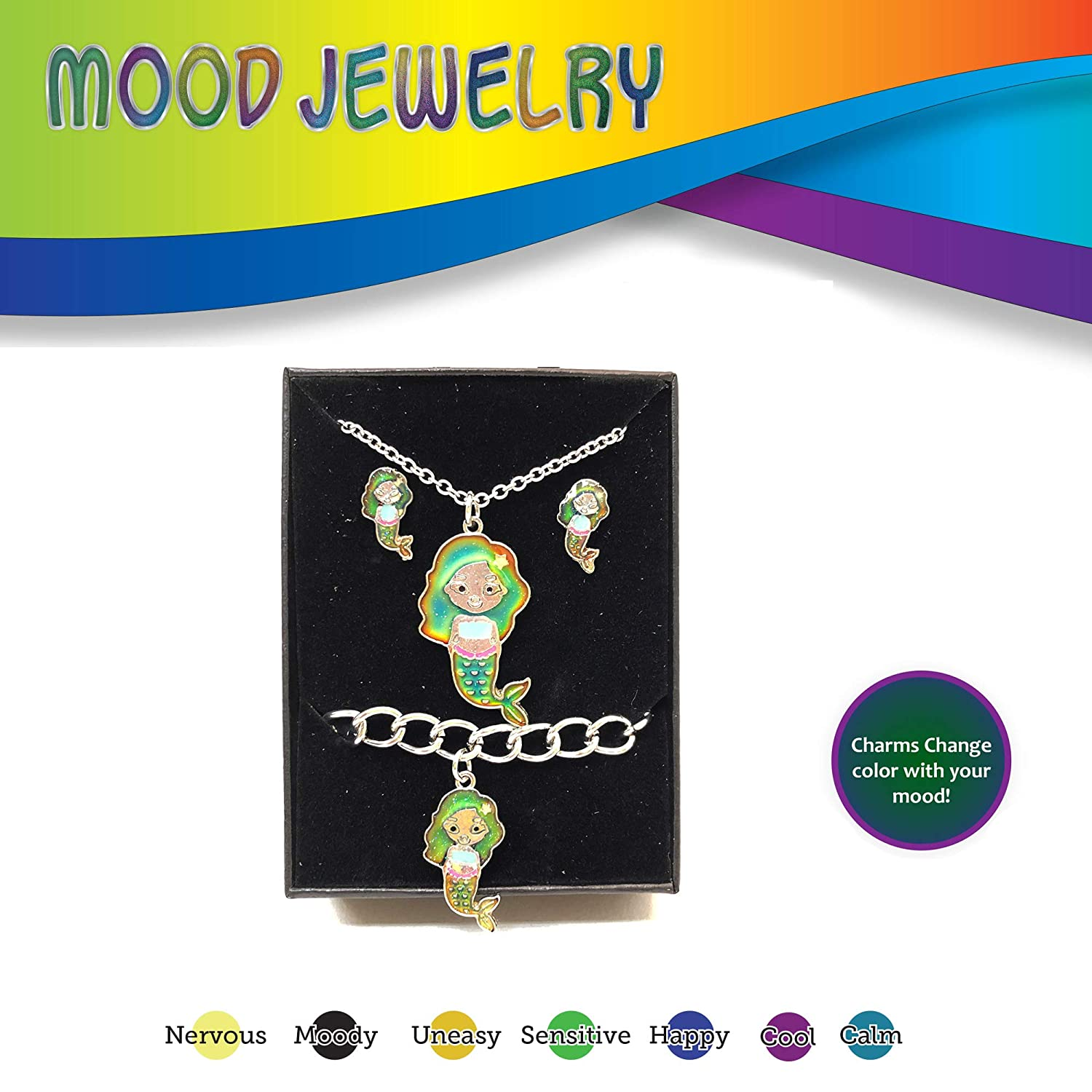 FROG SAC Mood Bracelet Necklace and Earrings Gift Box for Girls Kids Tween 3 PCs Set Unicorns Color Changing Fashion Jewelry Set Girl Birthday Present Valentines Day Great as Party Favors Valentine/'s Day