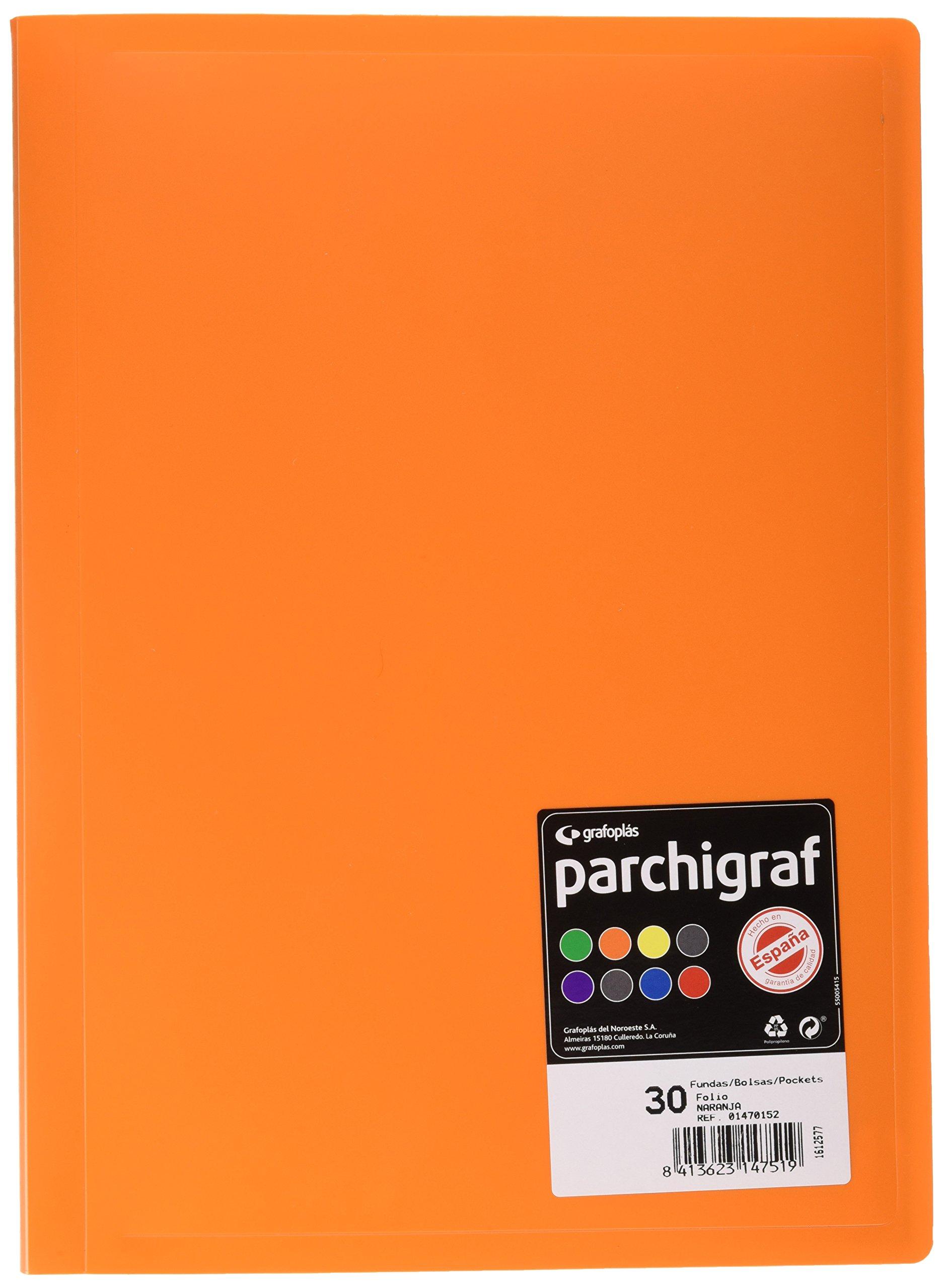 grafoplas 1470152Folder with 30Sleeves, Foolscap, Tapas PP, orange