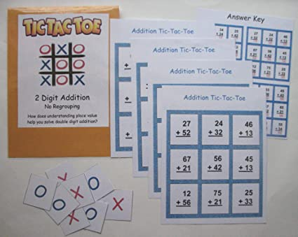 Teacher Made Math Educational Learning Center Resource Game Two Digit Addition