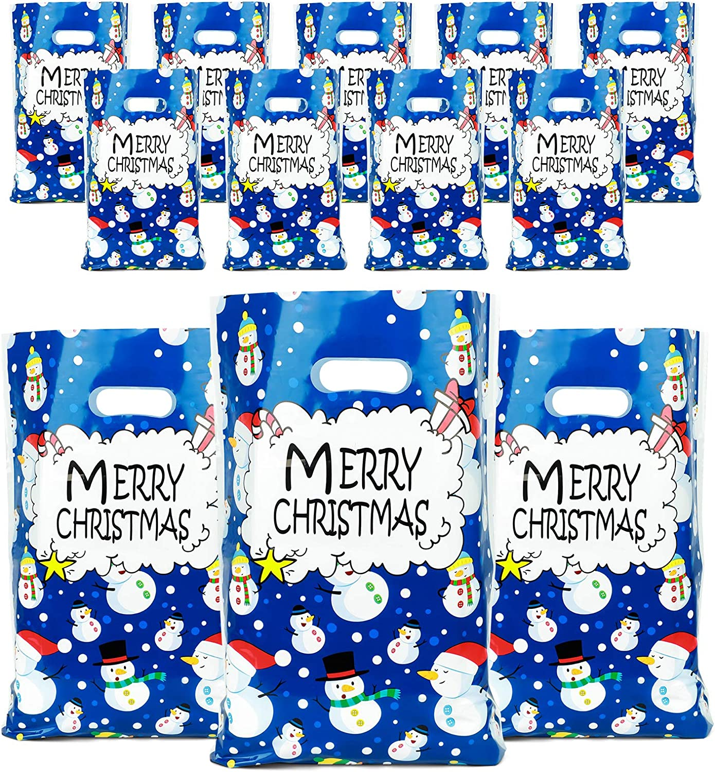 Christmas Bags for Gift, Plastic Bags with Die Cut Handles Durable Party Favor Bags 11 in x 13.7 in Shopping Bags Set of 12 Poly Bags