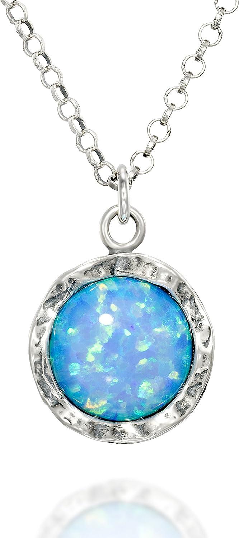 Stera Jewelry - Collar de plata de ley y colgante redondo de ópalo blanco o azul brillante de 10 mm