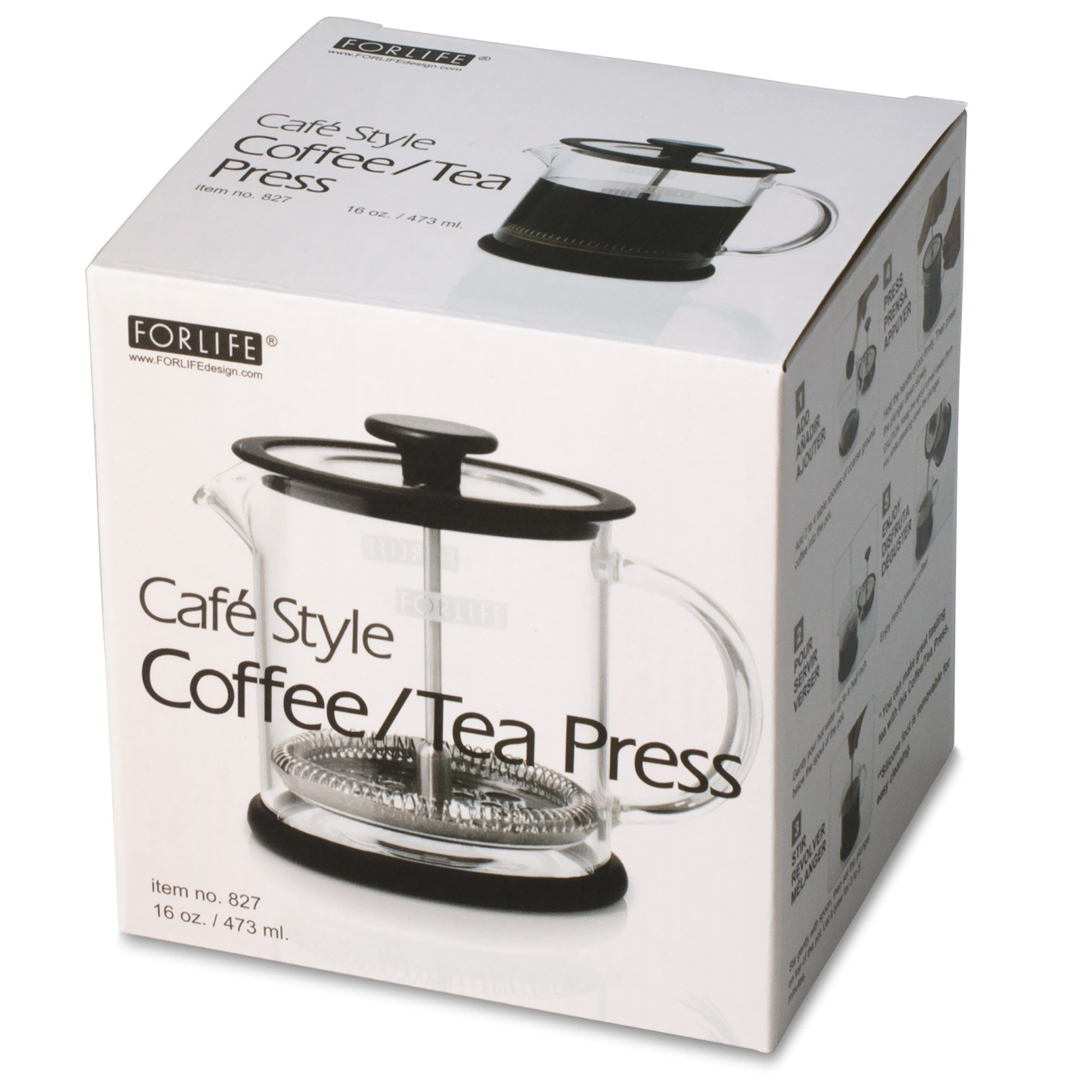 FORLIFE Cafe Style Glass Coffee/Tea Press, 16-Ounce, Black by FORLIFE (Image #6)