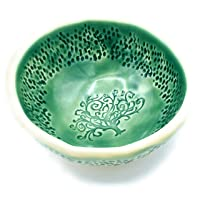 B JANECKA Green Tree of Life Bowl, 4.25 x 2 Inches, Handmade in USA, Pottery 9th Anniversary Gift