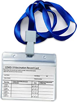 5 Pieces Vaccine Card Sleeve , Vaccine Card Protector with Lanyard Waterproof.