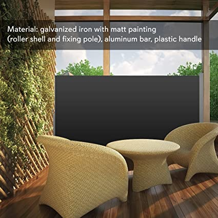 Indipartex Patio Wind Breaker Outdoor Retractable Side Awning Waterproof  Sun Shade Wind Screen Privacy Divider Can
