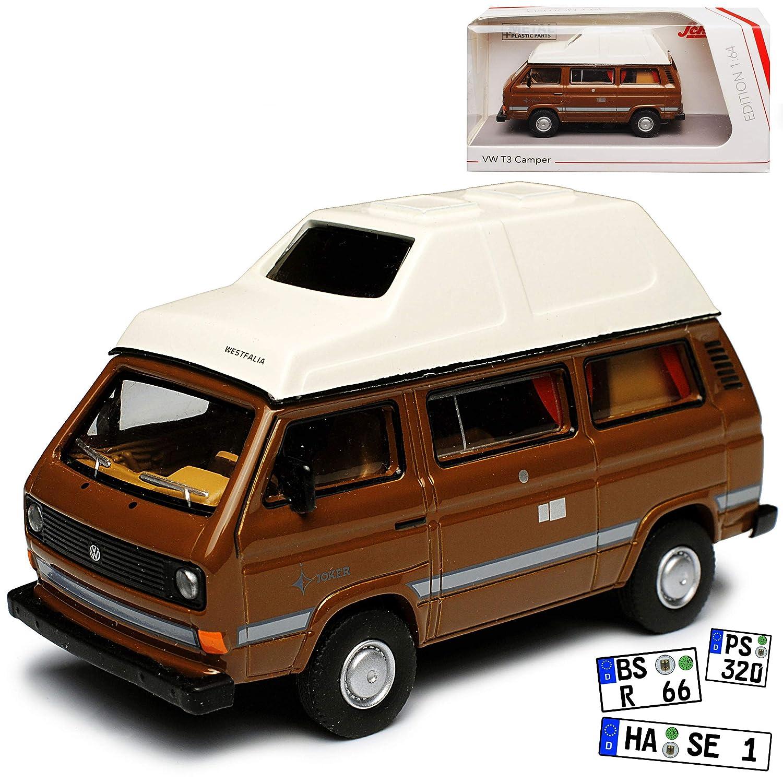 Volkwagen T3 Joker Westfalia Camper Bus Personen Transporter Braun mit Weiss 1979-1992 1//64 Schuco Modell Auto mit individiuellem Wunschkennzeichen