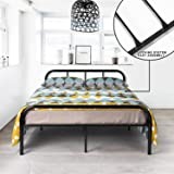 GreenForest Full Size Bed Frame Stable Metal Slat Support No Boxspring needed with Headboard Black