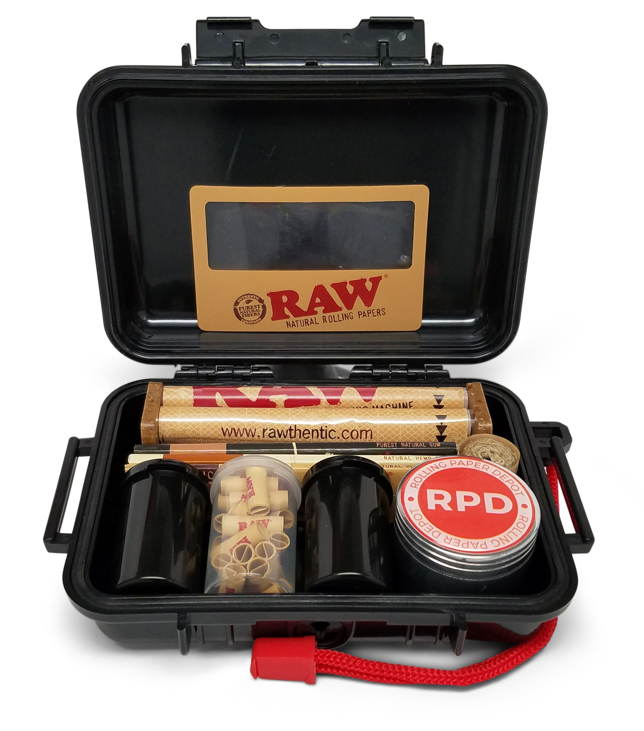 Bundle - 11 Items - Rolling Paper Depot RAW Smoker's Kit - Includes Air Tight Carrying Case, Rolling Papers, Cigarette Maker, Pre Rolled Tips Grinder and More