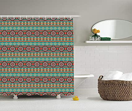 Redhearty Native American Shower Curtain Floral And Geometric Ethnic Tribal Cultural Motif Pattern Print