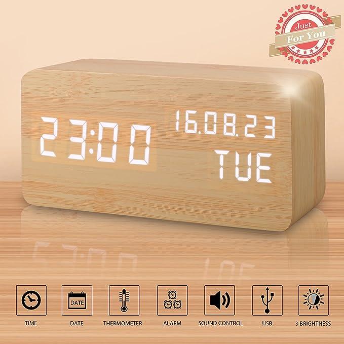 74 opinioni per Sveglia Digitale Legno LED Elettrica da Comodino Tavolo Sensore del Suono per