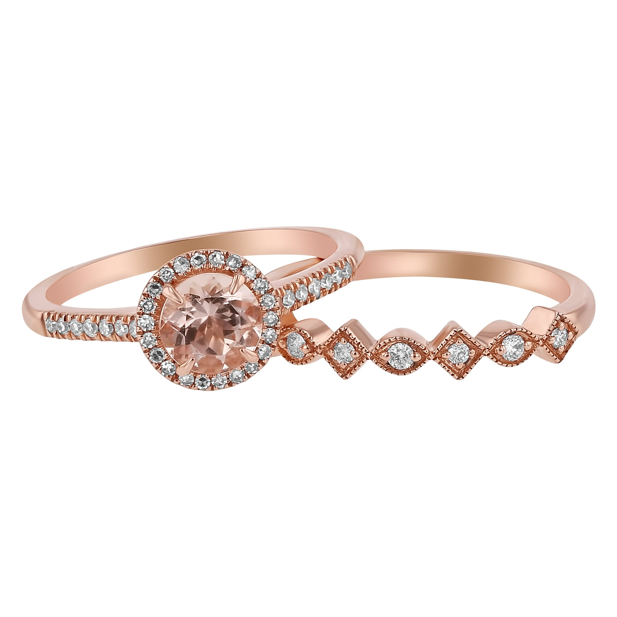 14k Rose Gold Round Morganite and Diamond Halo Vintage Wedding Band Set (1/4 cttw, H-I Color, I1 Clarity) Size 7