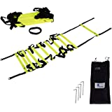 Cintz Fixed Rungs Soccer Speed and Agility Ladder - 15', 30' speed agility ladder - Ground Anchors, Carry Strap and Bag included