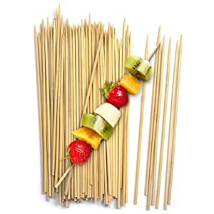 "Fit Meal Prep [200 Pack] 8"" Bamboo Skewers BBQ Sticks for Shish Kabob, Fondue, Satay, Outdoor Grilling, Marshmallow, Appetizer, Fruit, Corn, Chocolate Fountain, Cocktail"