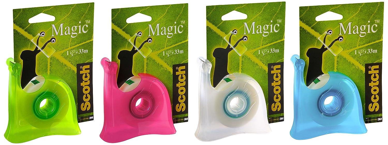 Scotch Brand Magic Dispenser Lumaca Ricaricabile Colori Misti con 1 Rotolo di Nastro Adesivo 4 Magic Tape Rotoli Nastro Adesivo 3M, Invisibile S810 Rainbow