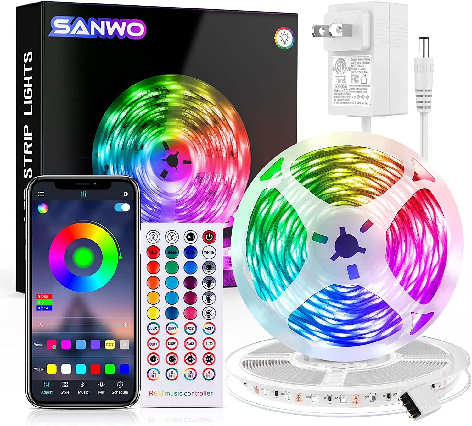 Led Light Strips with Remote, Color Changing RGB Led Strip Lights 65.6ft Sync with Music, Strips LEDs with APP Control Led Lights for Bedroom Decor, Kitchen, Room, Home Decoration
