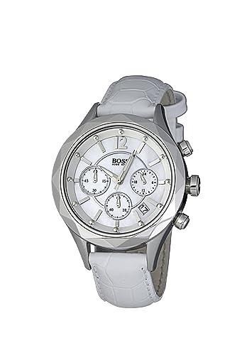 Hugo Boss 1502167 - Reloj analógico de Cuarzo para Mujer con Correa de Piel, Color Blanco: Amazon.es: Relojes