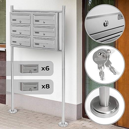 Designer Mailbox Ger/äumige Postf/ächer Abschlie/ßbar Gr/ö/ßenwahl 5//6//8 Stand-Briefkastenanlage Freistehende mit Namensschilder Standbriefkasten Letterbox Schl/üssel Postkasten