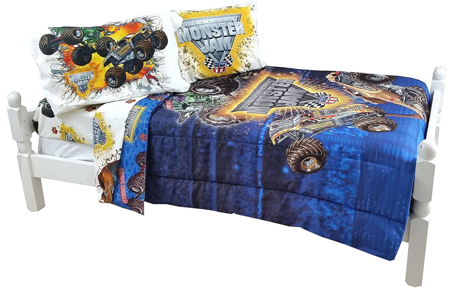 amazoncom 5pc monster jam full bedding set grave digger maximum destruction comforter and sheet set home u0026 kitchen