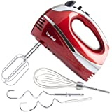 VonShef RED 250W Hand Mixer Whisk With Chrome Beater, Dough Hook, 5 Speed and Turbo Button + FREE Balloon Whisk