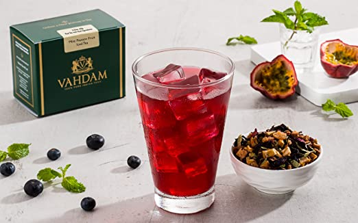 VAHDAM, Mint Passion Iced Tea | 40 Servings, 8 Quarts | 100% Natural Ingredients | Delicious Flavor of Passionfruit, Spices, Tropical Fruits | Herbal Iced Tea | Iced Tea Loose Leaf | 7 Oz