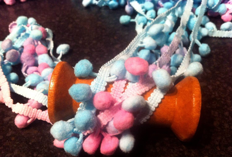 Pink /& Orange Shades Pom Pom Braid//Trim X 1 Metre   Sewing//Costume//Crafts